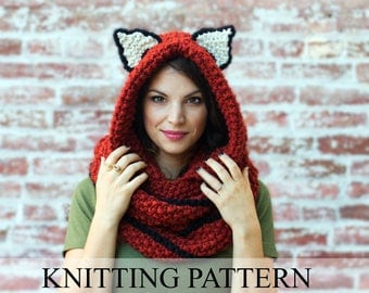 KNITTING PATTERN Fox Cowl, Hooded Scarf Knitting Pattern, Knit Hooded Animal Scarf Pattern, Fox Scarf Pattern, Fall Accessories