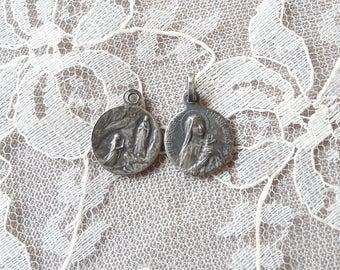 """1/2"""" - Lourdes & St Therese of Lisieux - Set of 2 Antique French Religious Medals"""