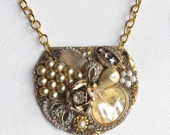 Pearl and Gold Encrusted Pendant Necklace