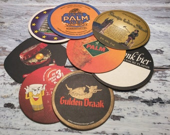 Vintage Belgian Beer Coasters . Cardboard Beer Mats . Barware . Set of 8 .