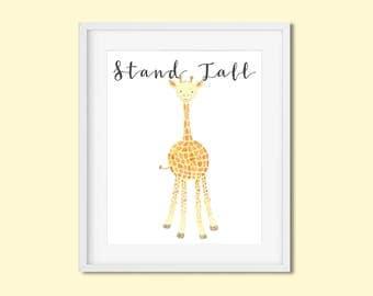 Stand Tall giraffe print Baby giraffe nursery art Giraffe nursery decor Gender neutral nursery Cute baby giraffe wall art Safari animals