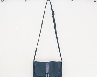 Small shoulder bag in Navy Blue nubuck and snake