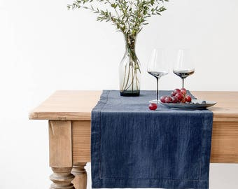 Navy Vintage Linen Table Runner with Hemstitch