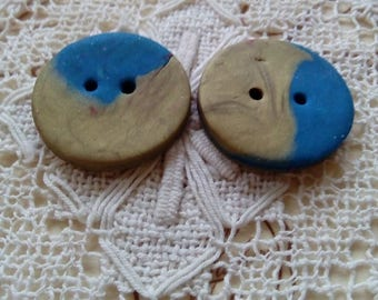 Pair of gold and blue polymer clay buttons, handmade buttons, unique buttons, round buttons, 2 buttons, scrapbooking, knitting, sewing
