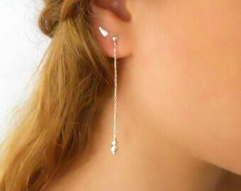 Delicate Silver Ball Earrings, Silver Dangling Earrings, Long Silver Studs, Silver Disco Ball Earrings, Sterling Silver Ball Earrings, #703