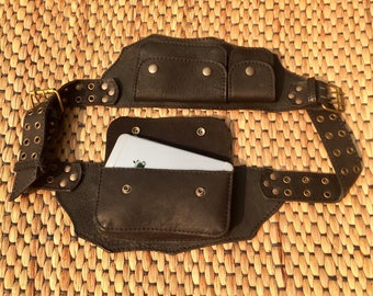 Festival Utility Belt Hip Bag, Leather Belt Bag, Fanny Pack, Pocket Belt, Money Belt, Burning Man Pouch - The Traveler