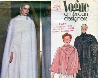Vogue 2617 CAPE PATTERN  Cape in 3 Lengths with Attached Scarf Vogue American Designer Size 12 Bust 34 Womens Sewing Patterns