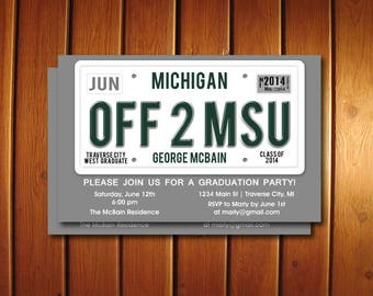 License Plate Graduation Party Invitation -  Unique Graduation Announcement - High School
