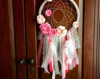Dream catcher. Nursery decor. Pink and gray dream catcher. Handmade. Paper flowers.