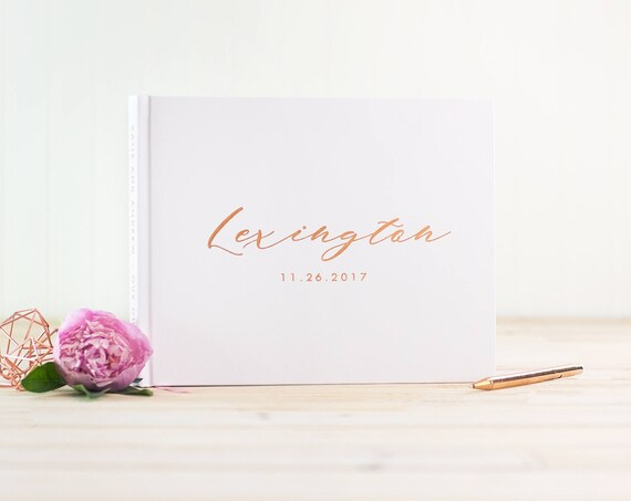 Wedding Guest Book Rose Gold Foil wedding guestbook personalized instant photo book rose gold sign in book wedding album harcover guest book