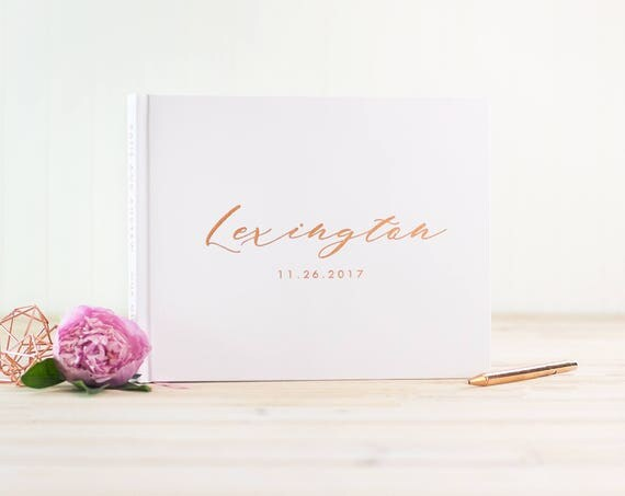 Wedding Guest Book Rose Gold Foil wedding guestbook personalized instant photo book rose gold sign in book wedding book harcover guest book