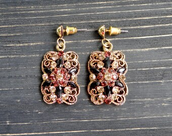 Rhinestone earrings Vintage gift for mom art deco wedding bridal earrings gold tone dangle earrings gold tone earrings wife gift bridal gift