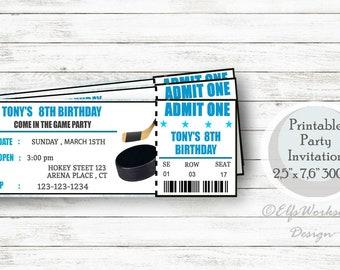 Hockey invitation, Hockey ticket invitation, Printable birthday invitation tickets, Personalized birthday invite, Game Ticket invitation