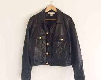 Vintage Leather Jacket w/ Pearl Button Detail / The Limited brand / Black Leather / Pearl & Gold Buttons / Sz. M