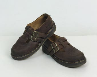 Vintage 90's Doc Martens Brown Leather Shoes US 8.5 - Double Strap Mary Jane Flat Boots - Dark Brown Rubber Sole Made In England Womens Docs