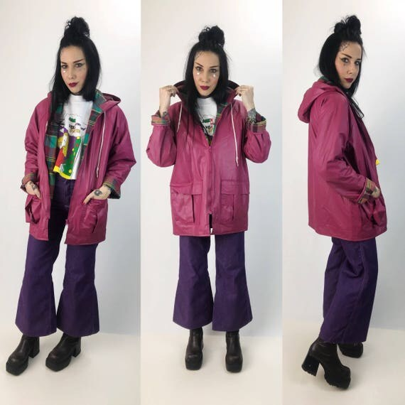 90's Pink Rain Coat Rainbow Plaid Lining Small - Vintage Misty Harbor Lined Slicker - PVC Womens Dusty Pink Warm VTG Rain Coat With Hood