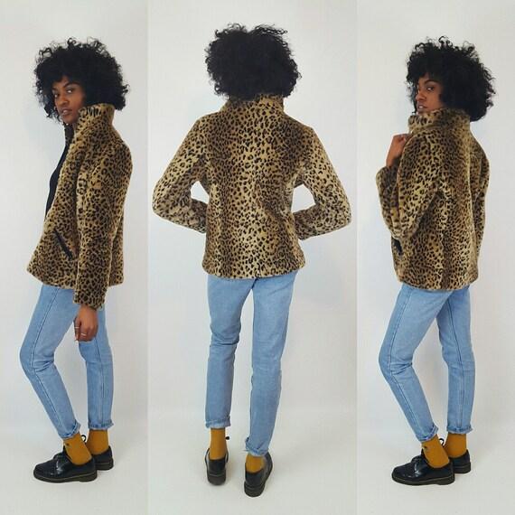 Faux Fur Leopard Print Coat Small - Wild Cats Cheetah Print Zip Up Winter Jacket - Animal Print Vegan Fake Fur Warm Fall Autumn Outerwear