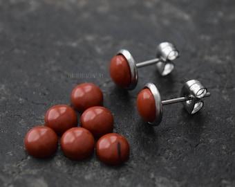 Genuine Red Jasper (1 Pair) Handmade MCM Real Stone Bezel Set Stud 316L Surgical Steel Post Piercings Cartilage Lobe Jewelry Earrings