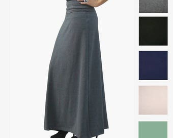 A Line Skirt - Plus Size Skirt - Maxi Skirt - Foldover Waistband - Womens Skirt - Long Skirt - Petite Skirts - Tall Skirts - Custom Skirts