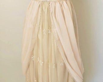 Edwardian Wedding Dress, Lace Wedding Dress, Champagne Taffeta and Ivory Lace