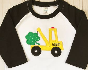 Boy's St. Patrick's Shirt, Shamrock Outfit, Children's T-shirt, Tow Truck Top, Raglan Tee, Embroidered Clothing, Applique Outfit, Name Top