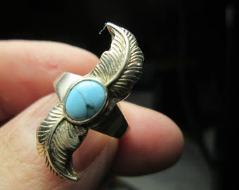 ring, size 6...  sterling silver,  turquoise
