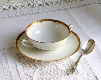 Antique Charles Field  Haviland Limoges porcelain chocolate or bouillon cup and saucer, white gold cup and saucer
