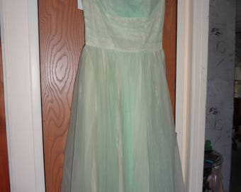 1960s Small Green Chiffon Satin Maxi Party Dress