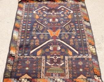 Vintage Hand knotted Meschkin Prayer Rug