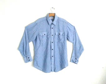 Vintage Levi's Shirt Western Pinstripe Two-Pocket 80s Levi Strauss  Men's Large