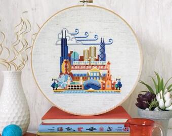 Pretty Little Chicago - Printed version - Satsuma Street Modern Cross stitch pattern
