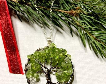 Peridot and Crystal Tree Of Life Necklace Pendant On Sterling Silver Chain Wire Wrapped Green Gemstone Jewelry August Birthstone Jewelry