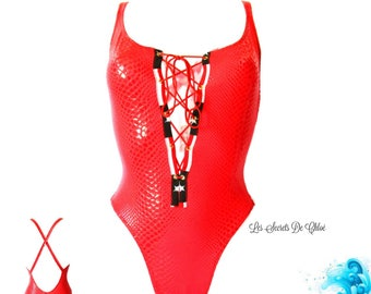 Swimsuit one piece red plunging neckline