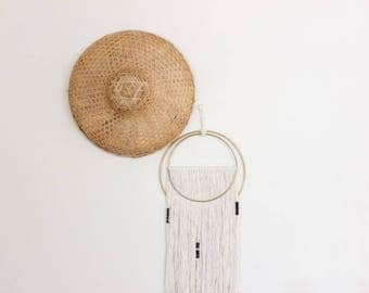 Chinese Hat Woven Wall Basket Asian Folk Art Paddy Hat Boho Home Decor