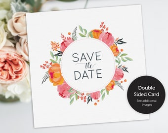 Save the Date, Floral Save the Date postcard, Wedding announcement, Printable, Floral Wreath