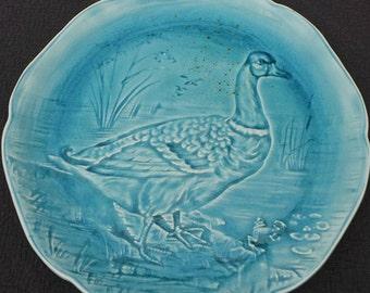 French Plate Boulenger et Cie CHOISY Le Roi Antique French Impressed Glazed Plate 1836-1880 Choisy Terre de Fer Earthenware Blue Goose