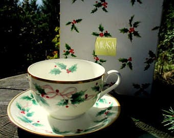 NOS Mikasa Fine Bone China Soup Bowl and Saucer - Ribbon Holly Pattern - Christmas China - 4 Available