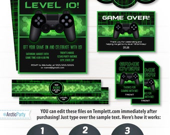 Video Game Birthday Party Invitations - Video Game Invitations - Video Game Party Ideas - Video Game Thank You- INSTANT ACCESS - Edit NOW!