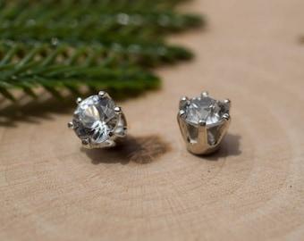 White Zircon Sterling Silver Earrings