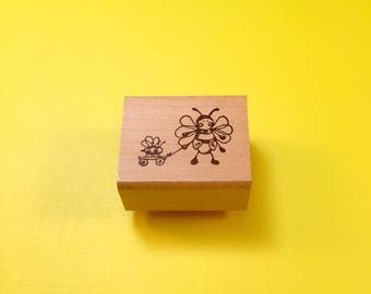 BEE Ride Wood Mount Rubber Stamp by PEDDLER'S PACK Stampworks 1995-1996