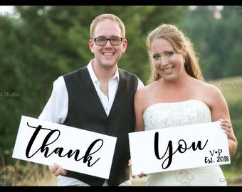 Thank You Sign with Initials and Established Date