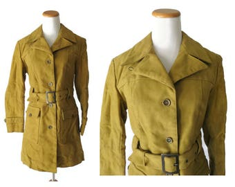 Mustard Yellow Coat 60s Mod Jacket 1960s Belted Outerwear Faux Fur Lined Faux Suede Belgica Mode Belgium Size Small S