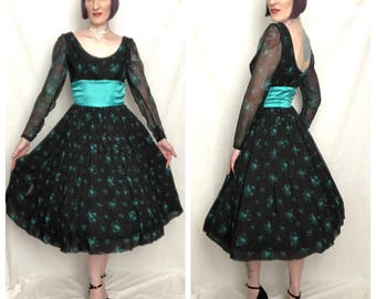 GORGEOUS Vintage 1950's Black and Turquoise Floral Rose Print Silk Chiffon New Look Party Dress - size Medium Large