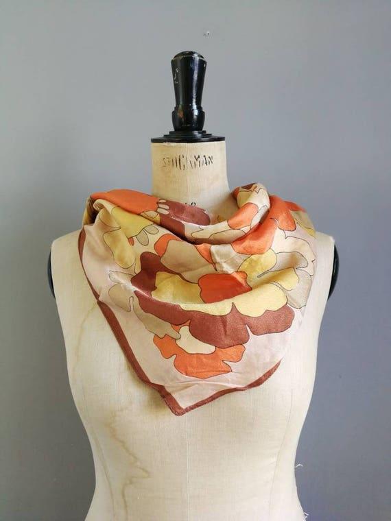 Vintage 60s scarf / square floral orange scarf / vintage gift for her / retro patterned square scarf / true vitnage scarf