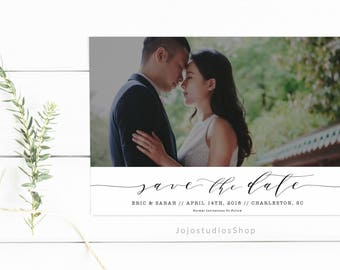 Simple Save the Date, Printable Save the Date Invitation, Wedding Invitations, Printable Save the Date Wedding, Photo Save the Date, sd004