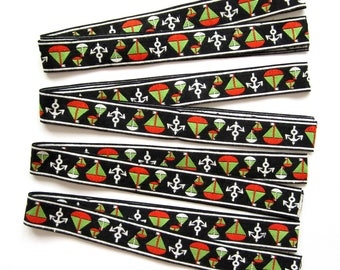 """Vintage Embroidered Trim GRAPHIC BLACK WHITE  Sailboats & Anchors 1"""" Wide 4 Pieces 162"""" Total"""