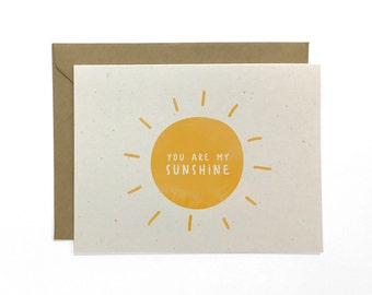 NEW | Illustrated Thinking of You Card, You Are My Sunshine, Recycled Thinking of You Card, Encouragement Card