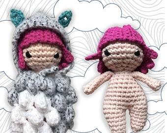 Nephelia crochet pattern US terms & French, patron Amigurumi, instructions poupée pour enfant, doudou, doll