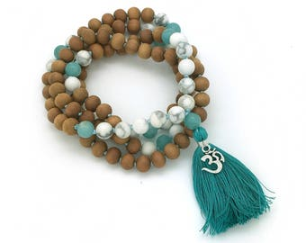 Sandalwood, Howlite & Amazonite Mala with OM charm, hand-made, 108 bead mala