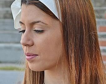Wedding Hair Scarf, Ivory Head Scarfs, Hair Covering, Long Hair Accessory, Baby Headband, Silk Headband, Girls Headband, Hair Scarf, Wedding